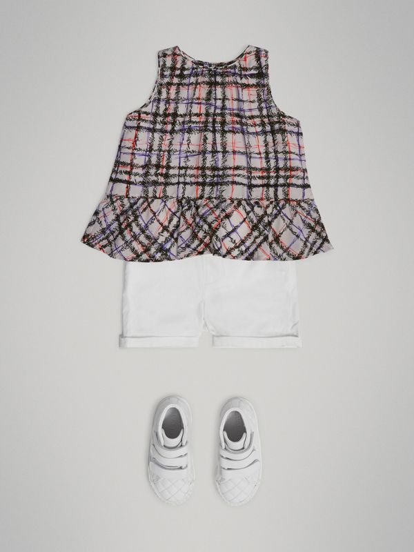 Scribble Check Print Silk Top in Black/white - Children | Burberry - cell image 2