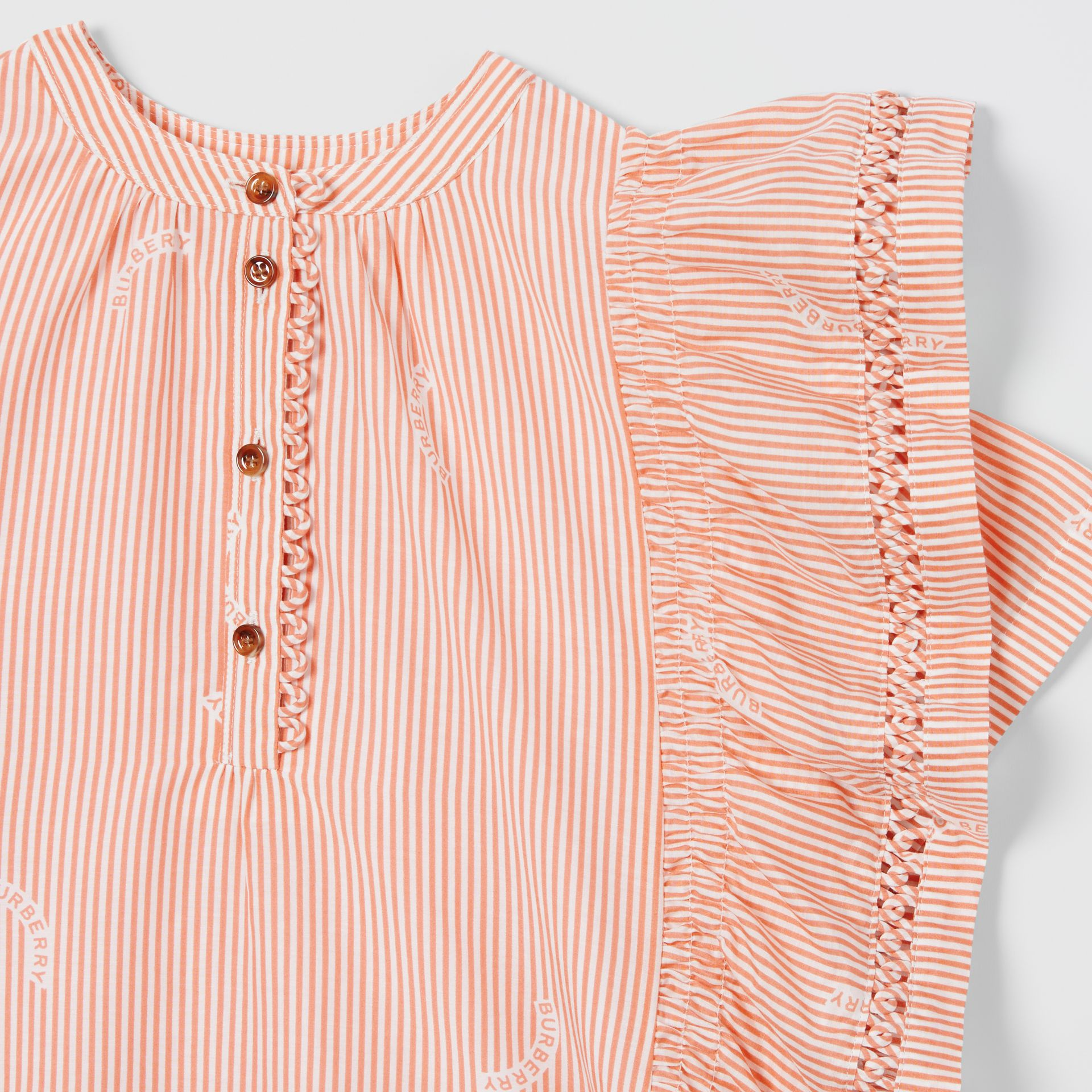 Ruffle Detail Stripe Print Cotton Silk Top in Coral Orange | Burberry - gallery image 4
