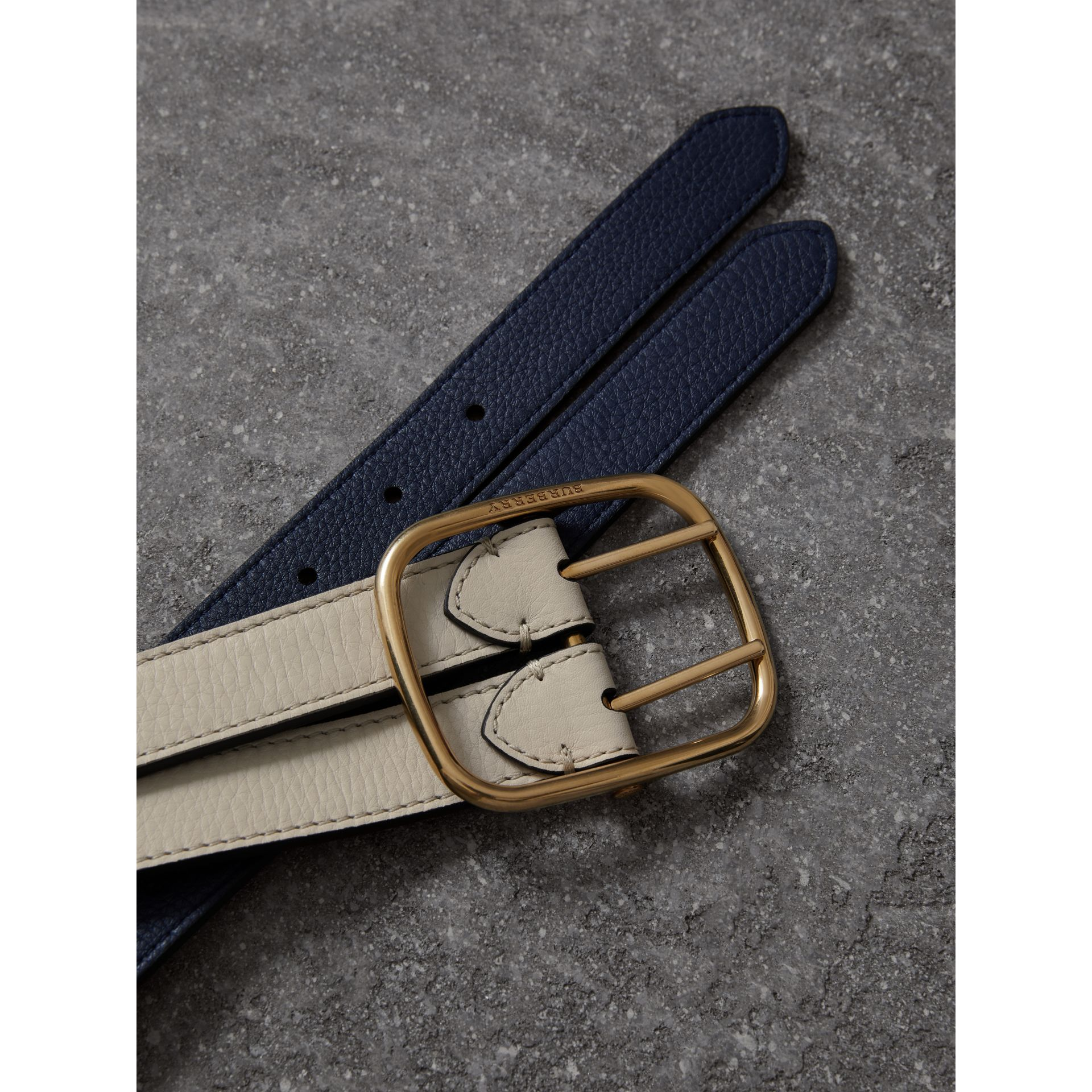 Double-strap Leather Belt in Limestone/regency Blue - Women | Burberry - gallery image 1