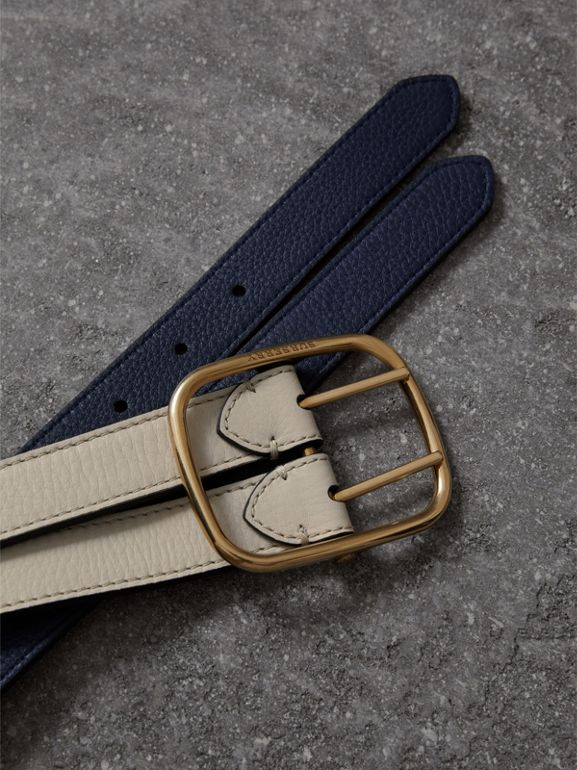 Reversible Double-strap Leather Belt in Limestone/regency Blue - Women | Burberry United Kingdom - cell image 1