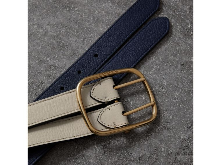Double-strap Leather Belt in Limestone/regency Blue - Women | Burberry United Kingdom - cell image 1