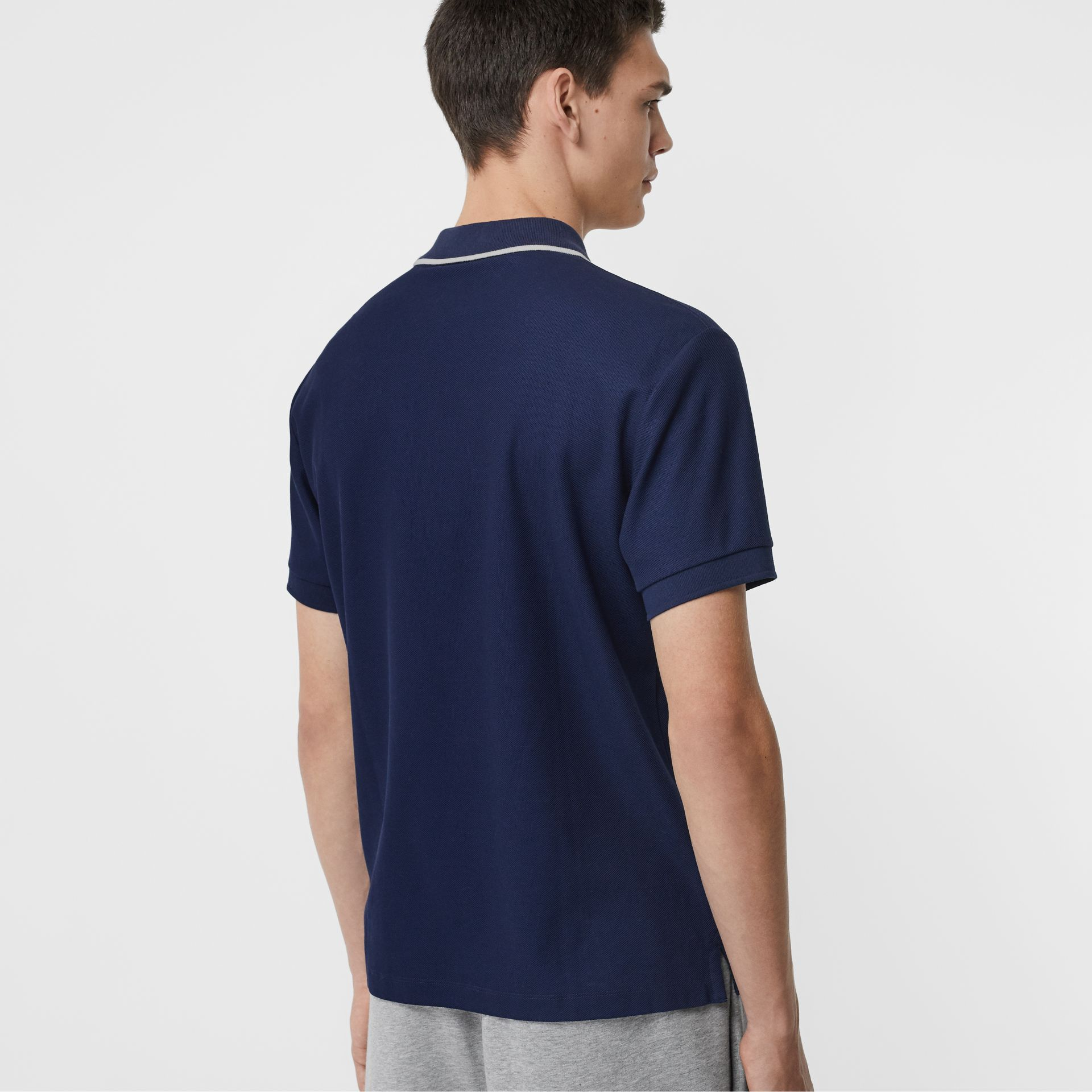 Embroidered Logo Cotton Piqué Polo Shirt in Navy - Men | Burberry - gallery image 2