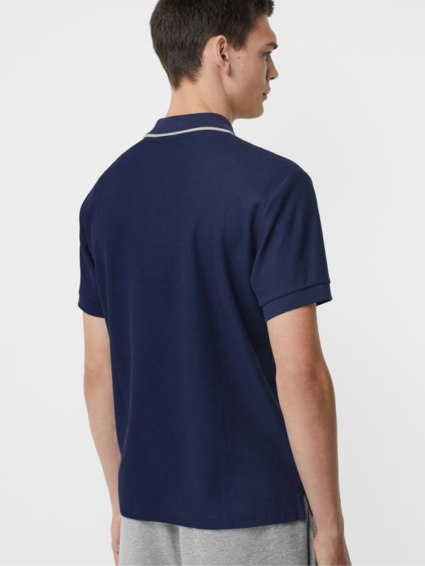 Embroidered Logo Cotton Piqué Polo Shirt in Navy - Men | Burberry Canada - cell image 2