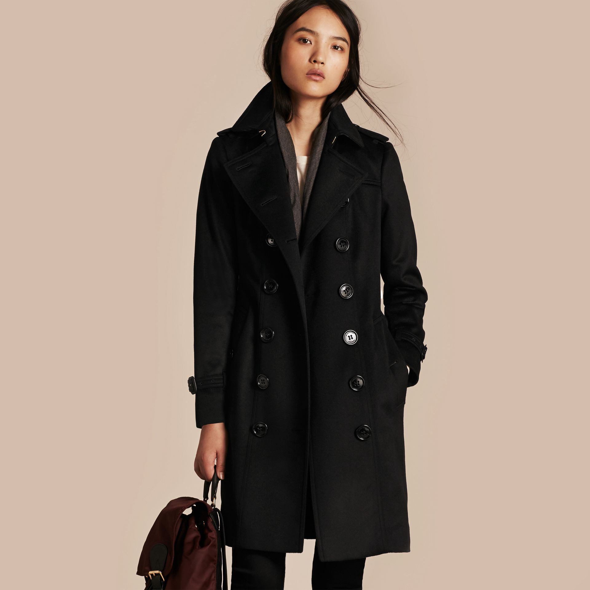 Black Sandringham Fit Cashmere Trench Coat Black - gallery image 6