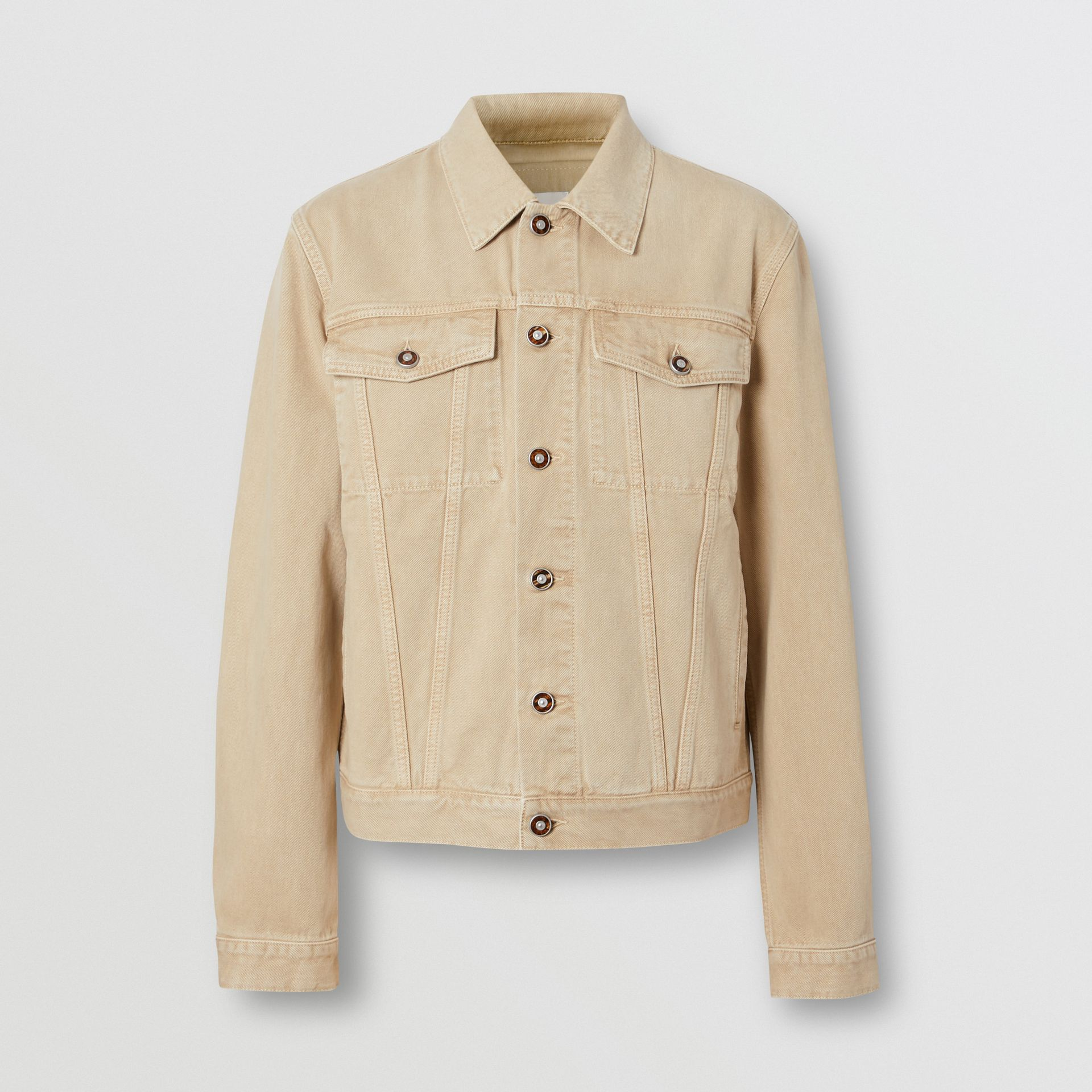 Logo Appliqué Washed Denim Jacket in Pale Grey - Men | Burberry United Kingdom - gallery image 3