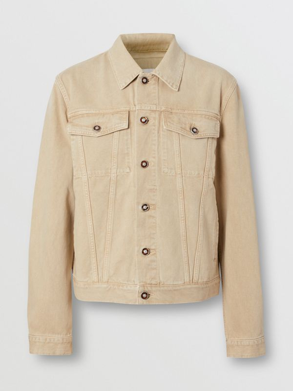 Logo Appliqué Washed Denim Jacket in Pale Grey - Men | Burberry United Kingdom - cell image 3