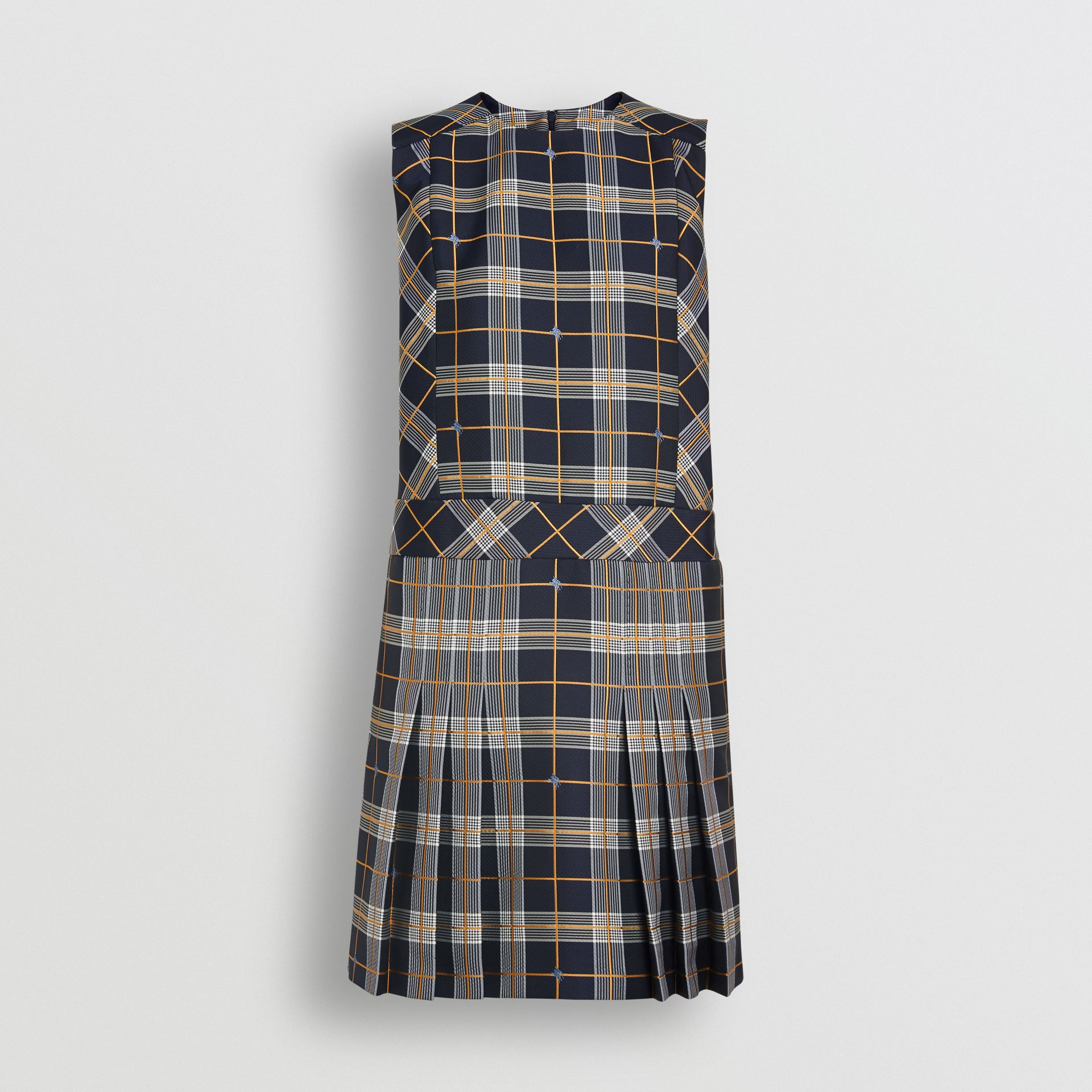 Sleeveless Pleat Detail Check Dress in Navy - Women | Burberry Australia - gallery image 3