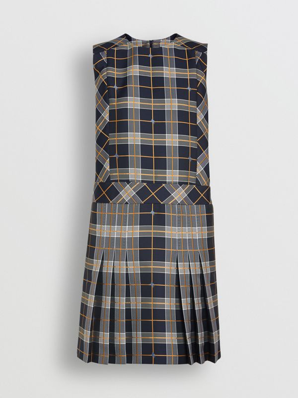 Sleeveless Pleat Detail Check Dress in Navy - Women | Burberry Singapore - cell image 3