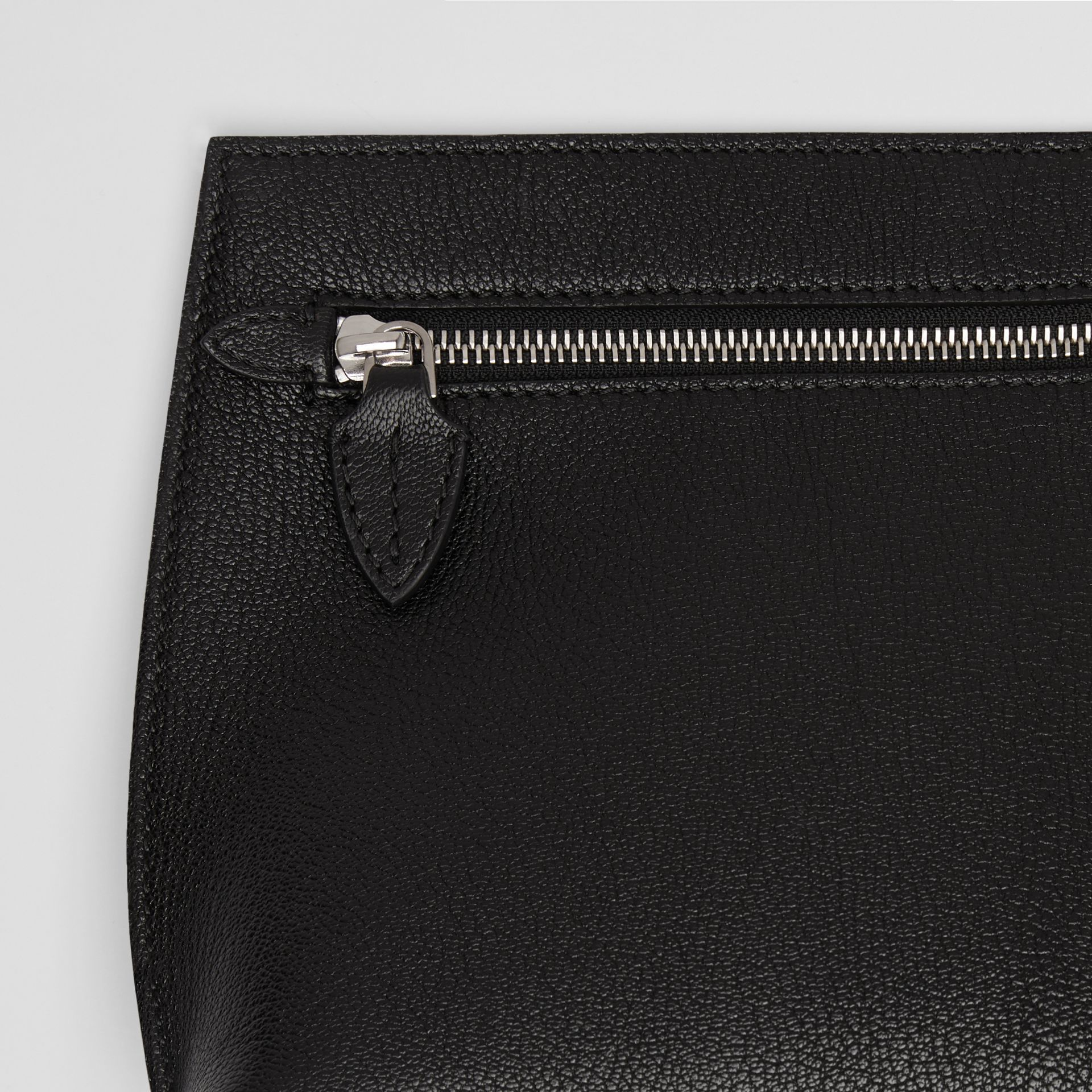 Grainy Leather Wristlet Clutch in Black - Women | Burberry - gallery image 1