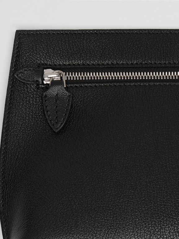 Grainy Leather Wristlet Clutch in Black - Women | Burberry Canada - cell image 1