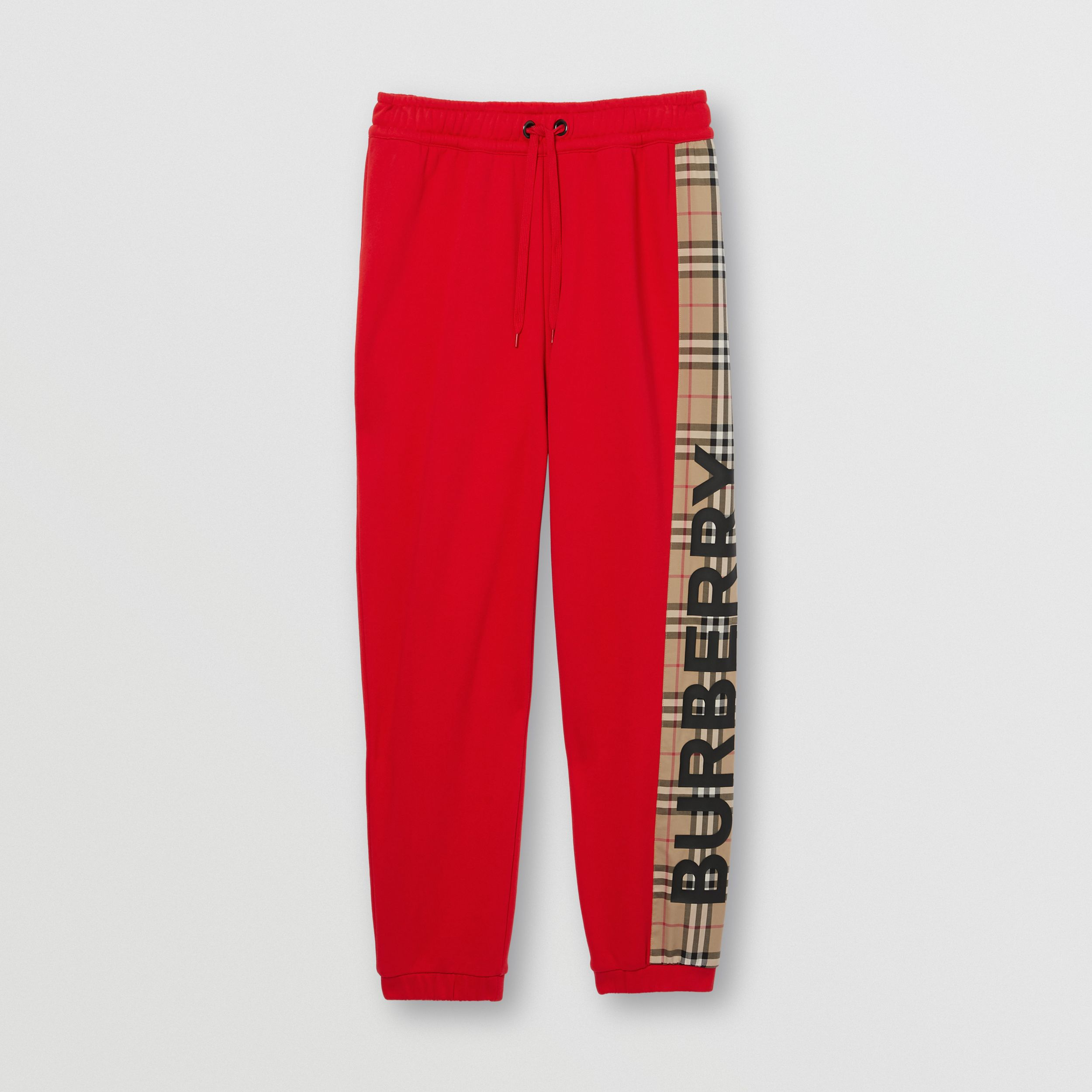 Vintage Check Panel Cotton Jogging Pants in Bright Red - Women | Burberry - 4
