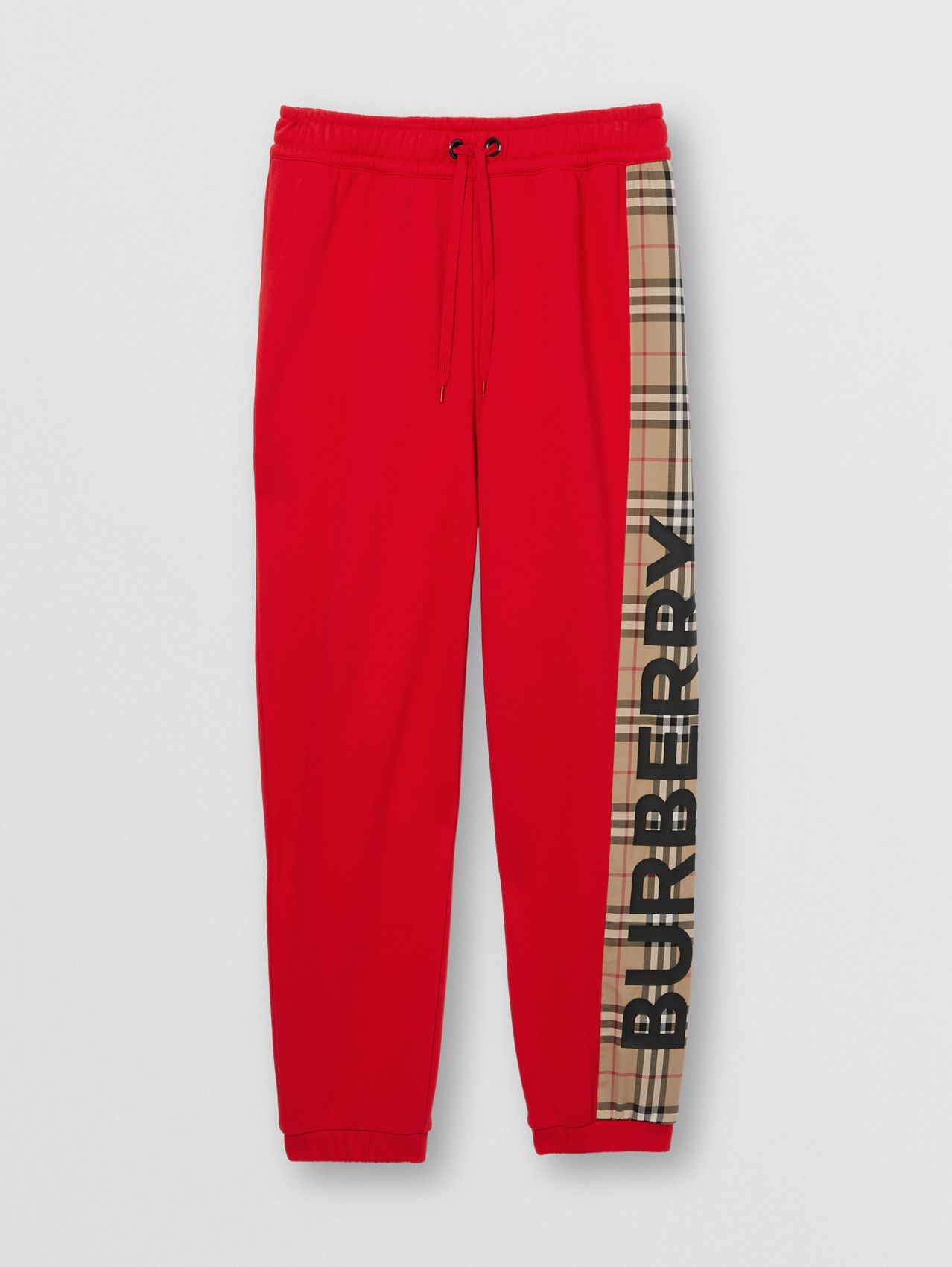 Vintage Check Panel Cotton Jogging Pants in Bright Red