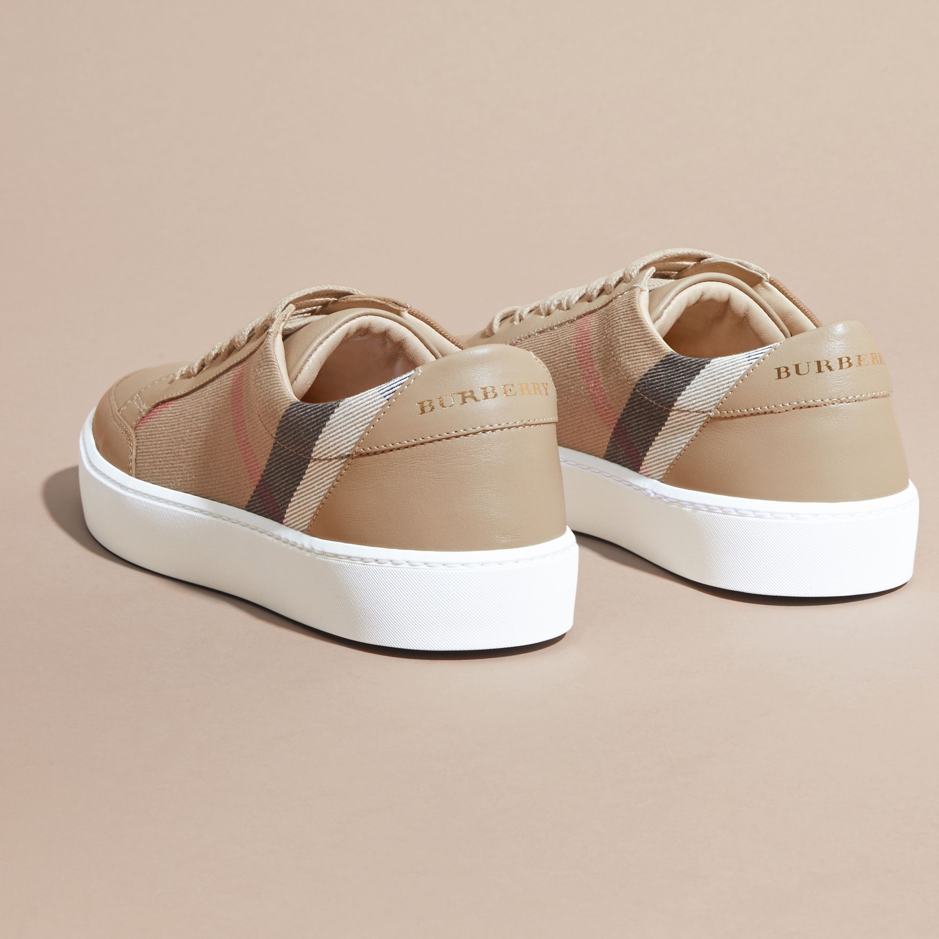 House check/ nude Check Detail Leather Sneakers House Check/ Nude - gallery image 4