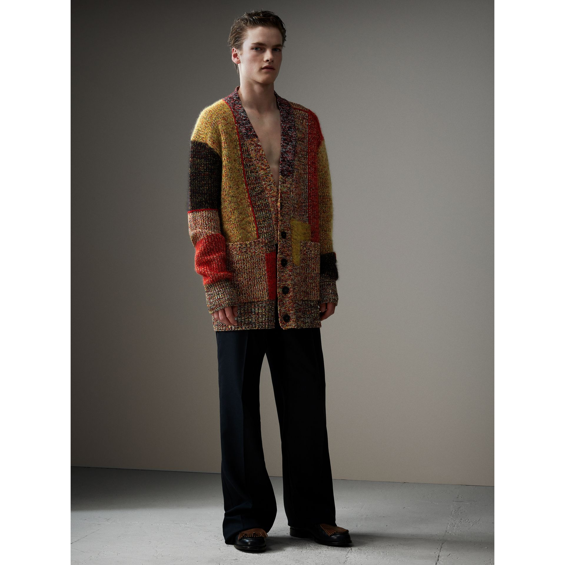 Wool Linen Mohair Blend Mouliné Oversized Cardigan in Multicolour - Men | Burberry - gallery image 5