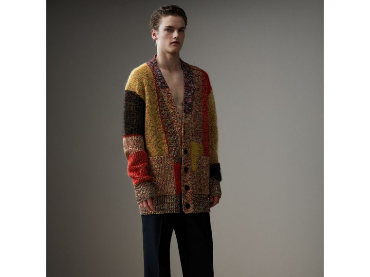 Wool Linen Mohair Blend Mouliné Oversized Cardigan in Multicolour - Men | Burberry - cell image 4