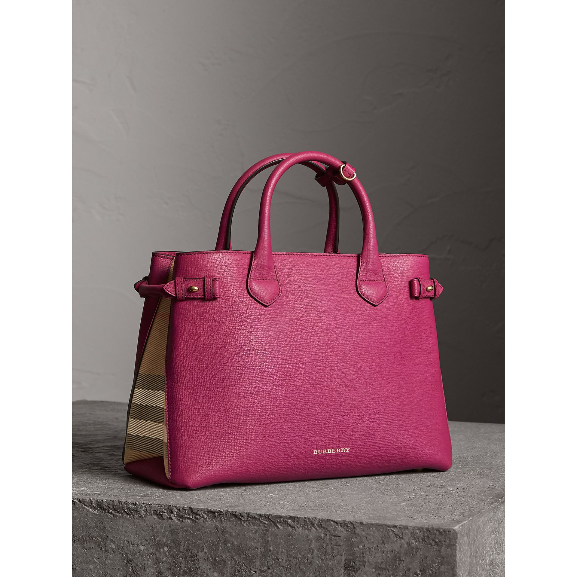 The Medium Banner in Leather and House Check in Brilliant Fuchsia - Women | Burberry - gallery image 1