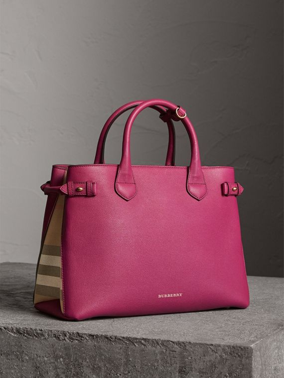 The Medium Banner in Leather and House Check in Brilliant Fuchsia