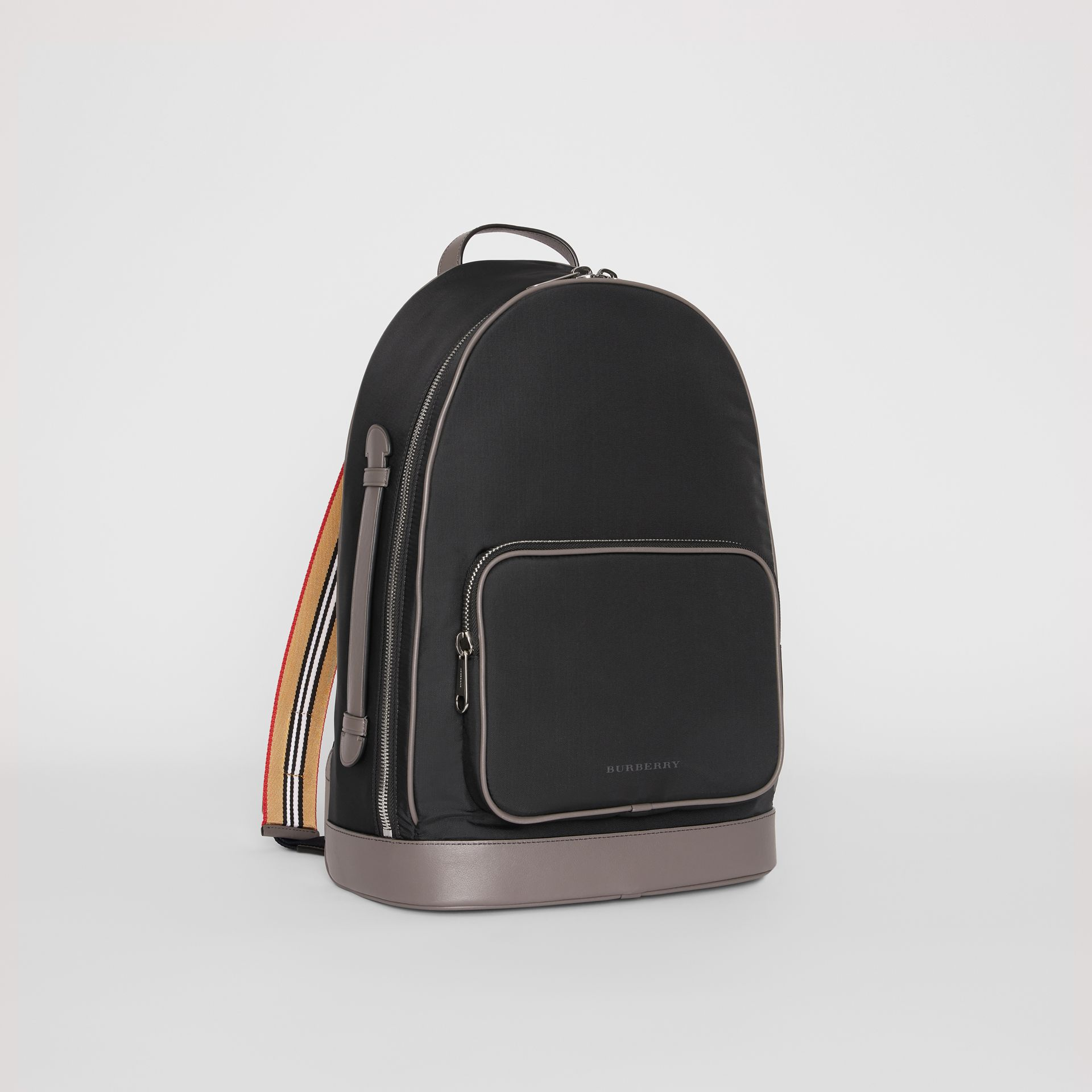 Icon Stripe Detail Nylon Backpack in Black - Men | Burberry - gallery image 6