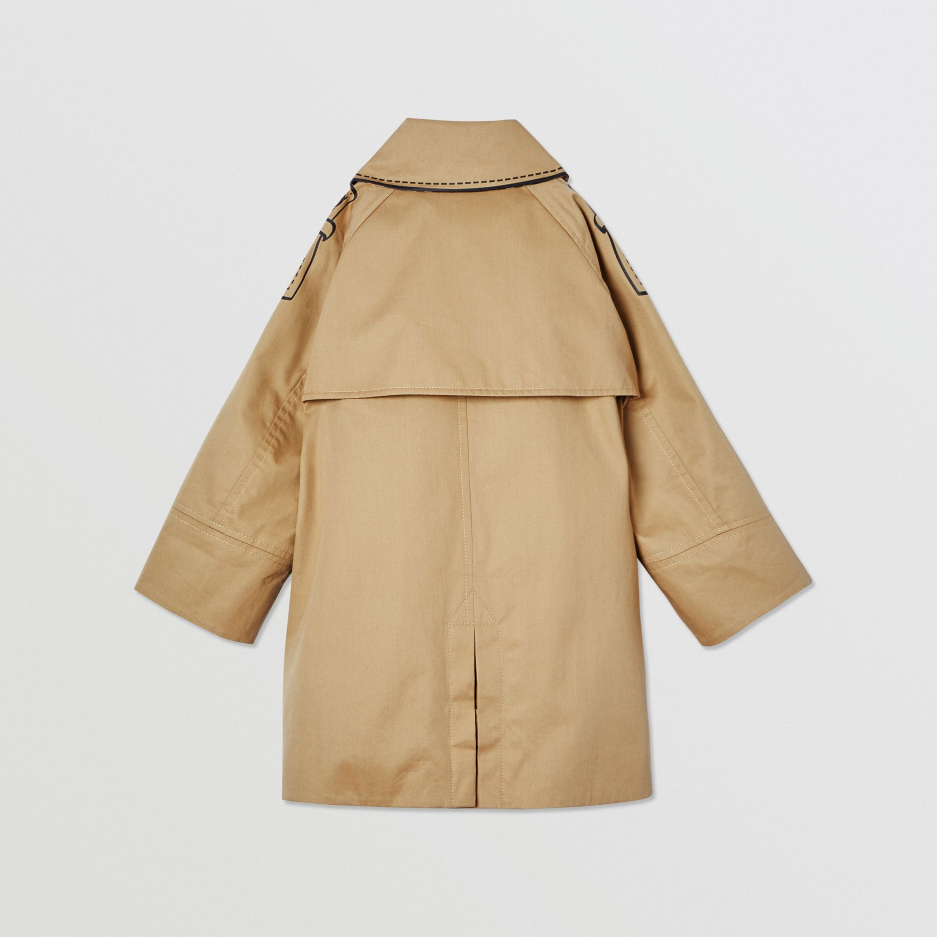 Trompe L'Oeil Cotton Swing Coat in Honey | Burberry United States - gallery image 3