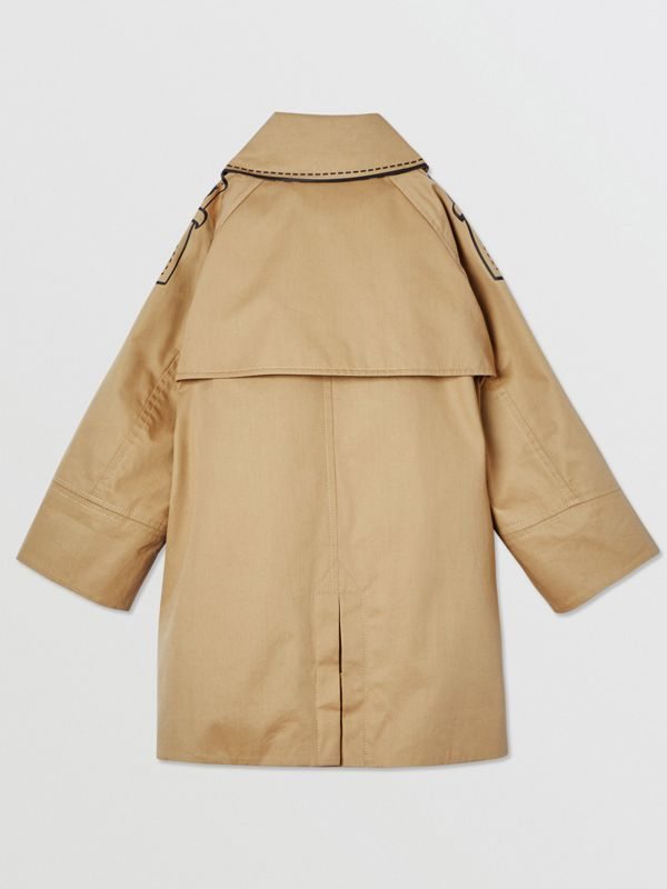 Trompe L'Oeil Cotton Swing Coat in Honey | Burberry United States - cell image 3