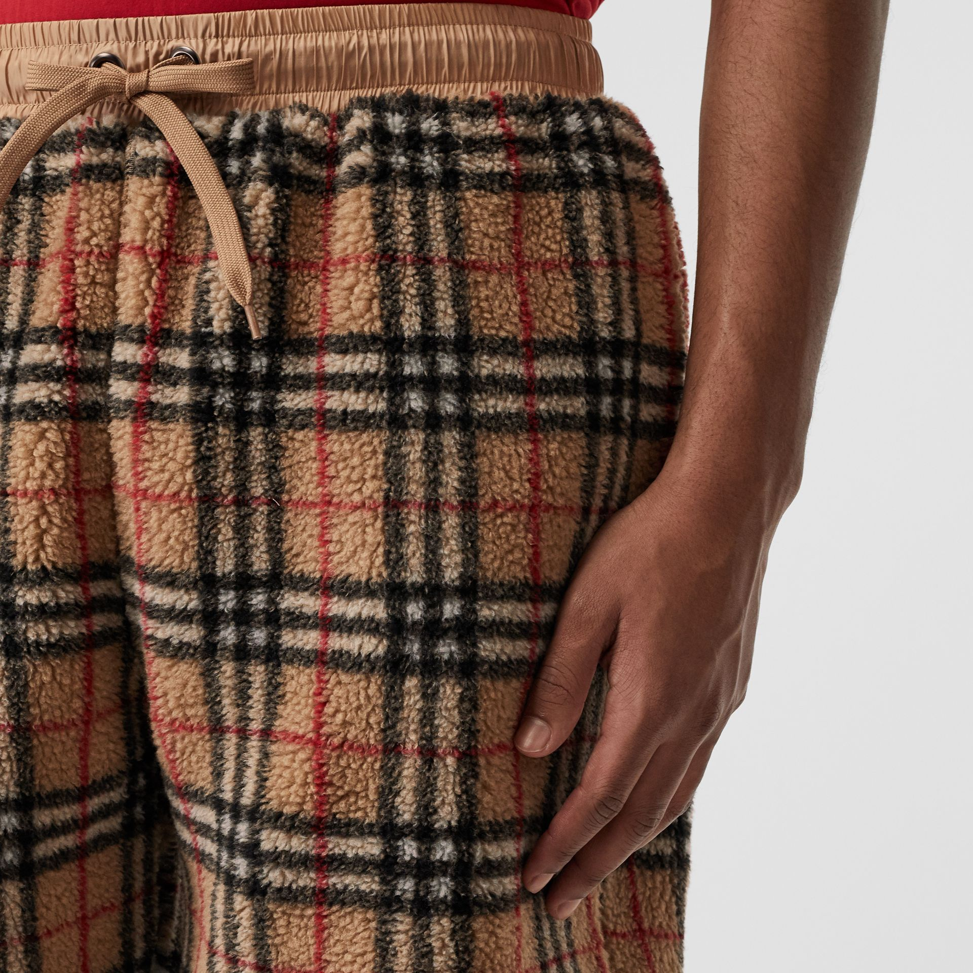 Vintage Check Faux Shearling Drawcord Shorts in Archive Beige - Men | Burberry - gallery image 1