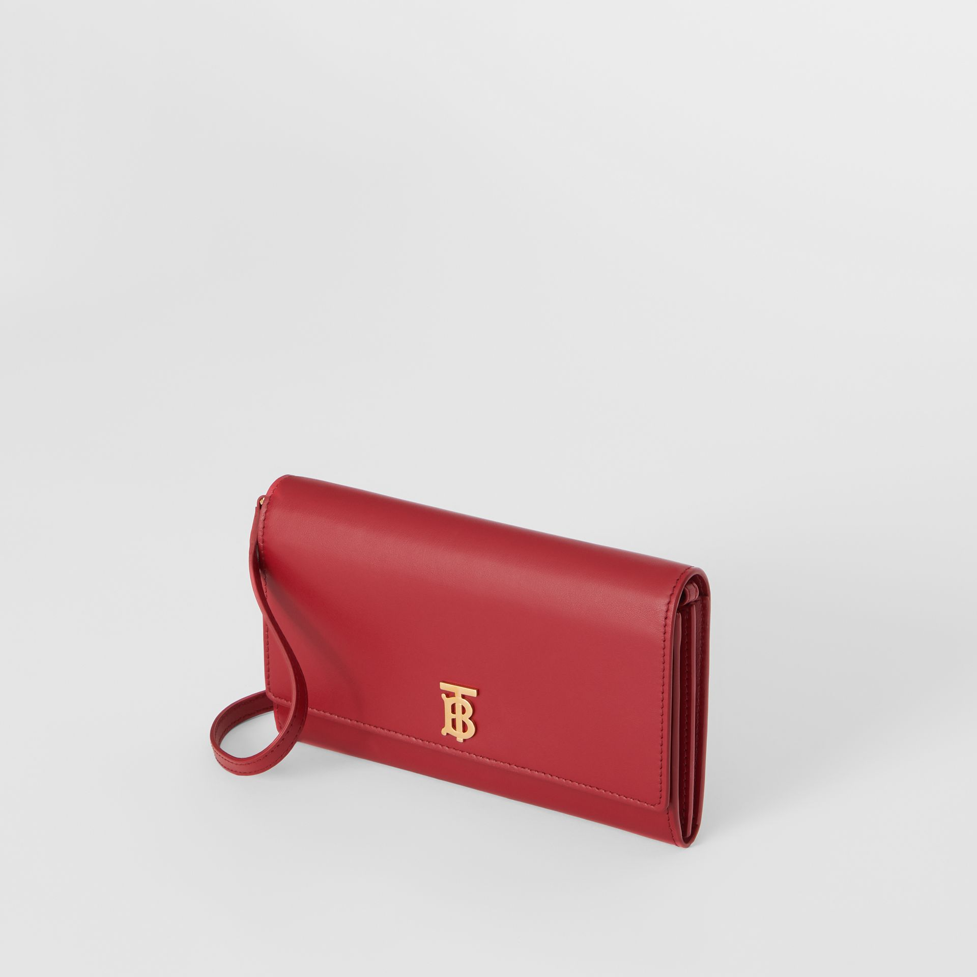 Monogram Motif Leather Wallet with Detachable Strap in Crimson - Women | Burberry United Kingdom - gallery image 3