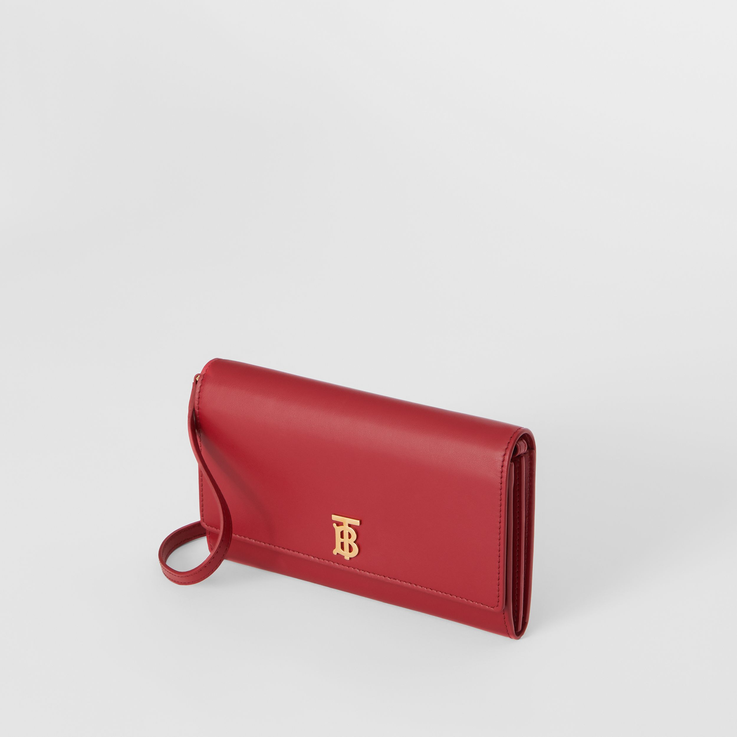 Monogram Motif Leather Wallet with Detachable Strap in Crimson - Women | Burberry - 4
