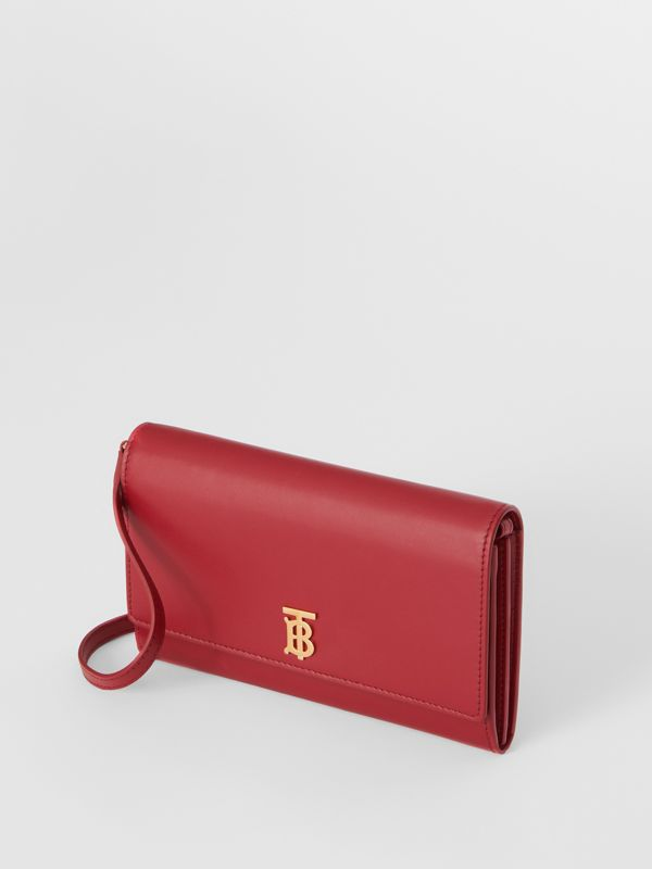 Monogram Motif Leather Wallet with Detachable Strap in Crimson - Women | Burberry United Kingdom - cell image 3