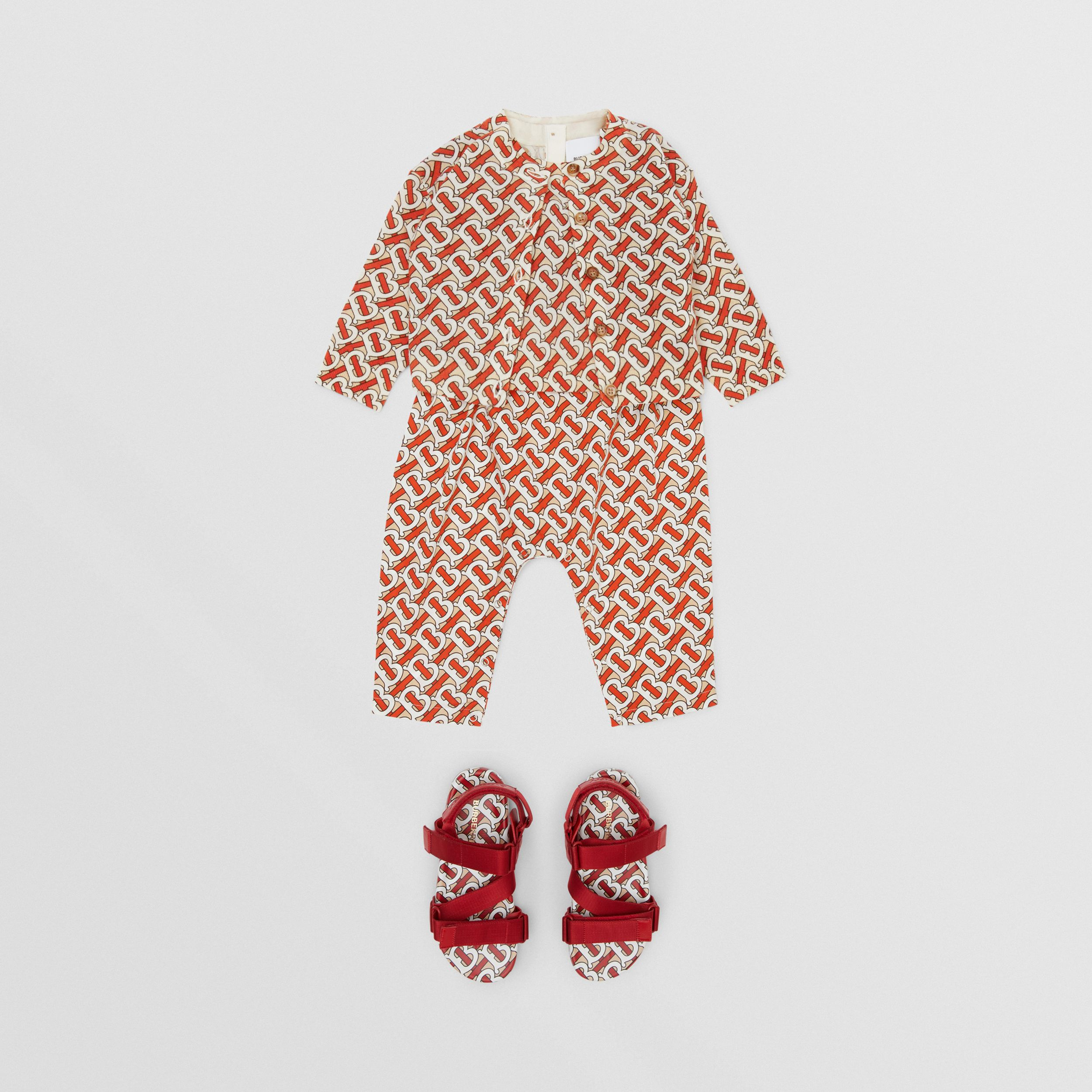 Monogram Print Merino Wool Two-piece Set in Vermilion - Children | Burberry - 4