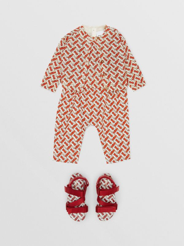 Monogram Print Merino Wool Two-piece Set in Vermilion - Children | Burberry - cell image 3