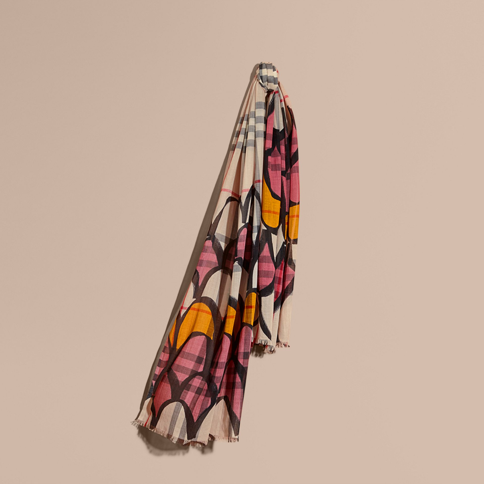 Check Wool Silk Scarf with Trompe L'oeil Print in Dusty Pink - Women | Burberry Singapore - gallery image 1