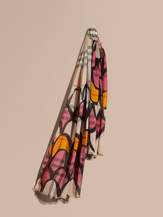 Check Wool Silk Scarf with Trompe L'oeil Print Dusty Pink