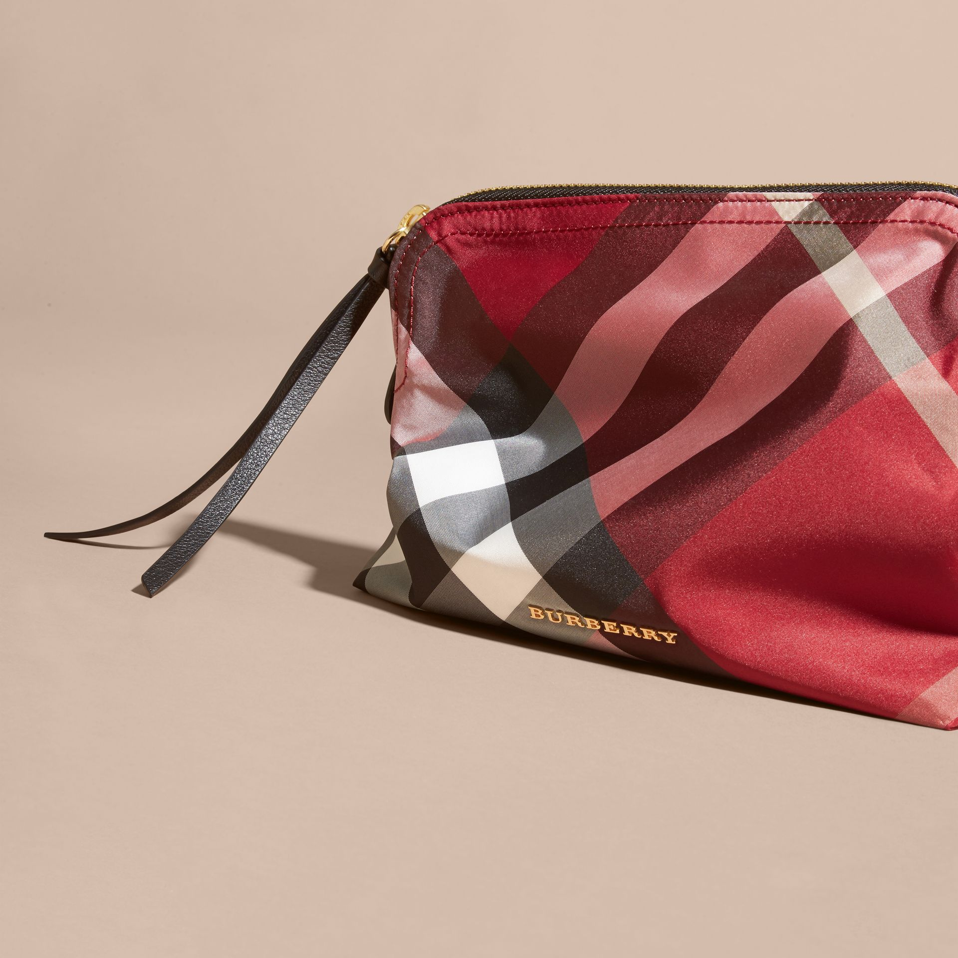 Large Zip-top Check Pouch Parade Red - gallery image 3