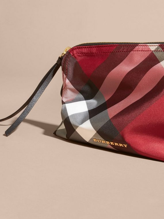 Large Zip-top Check Pouch in Parade Red - cell image 2