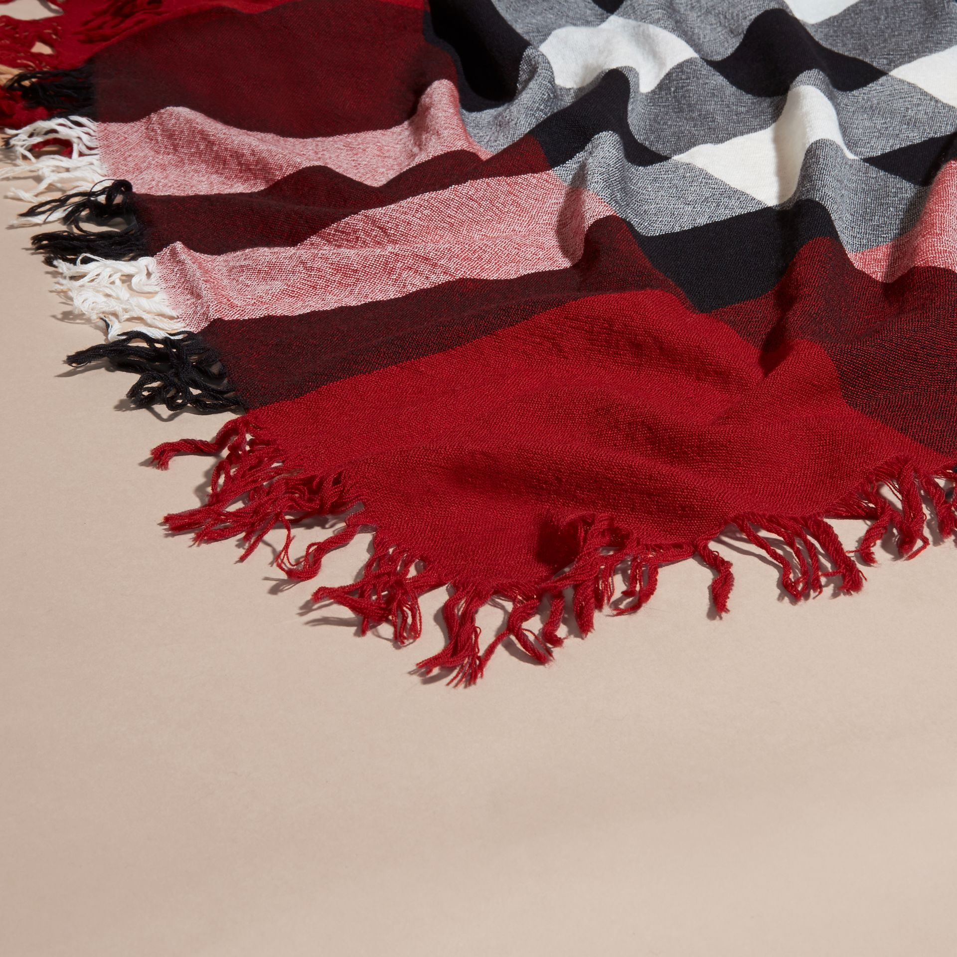 Check Wool Square - Large in Parade Red | Burberry - gallery image 2