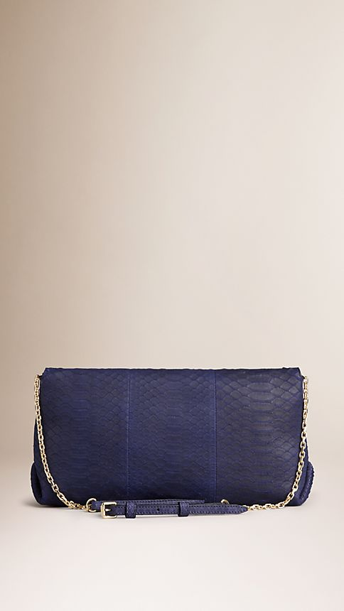 Bright regency blue Medium Nubuck Python Clutch Bag - Image 3