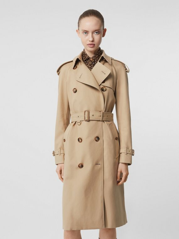 Archive Print-lined Cotton Gabardine Trench Coat in Honey