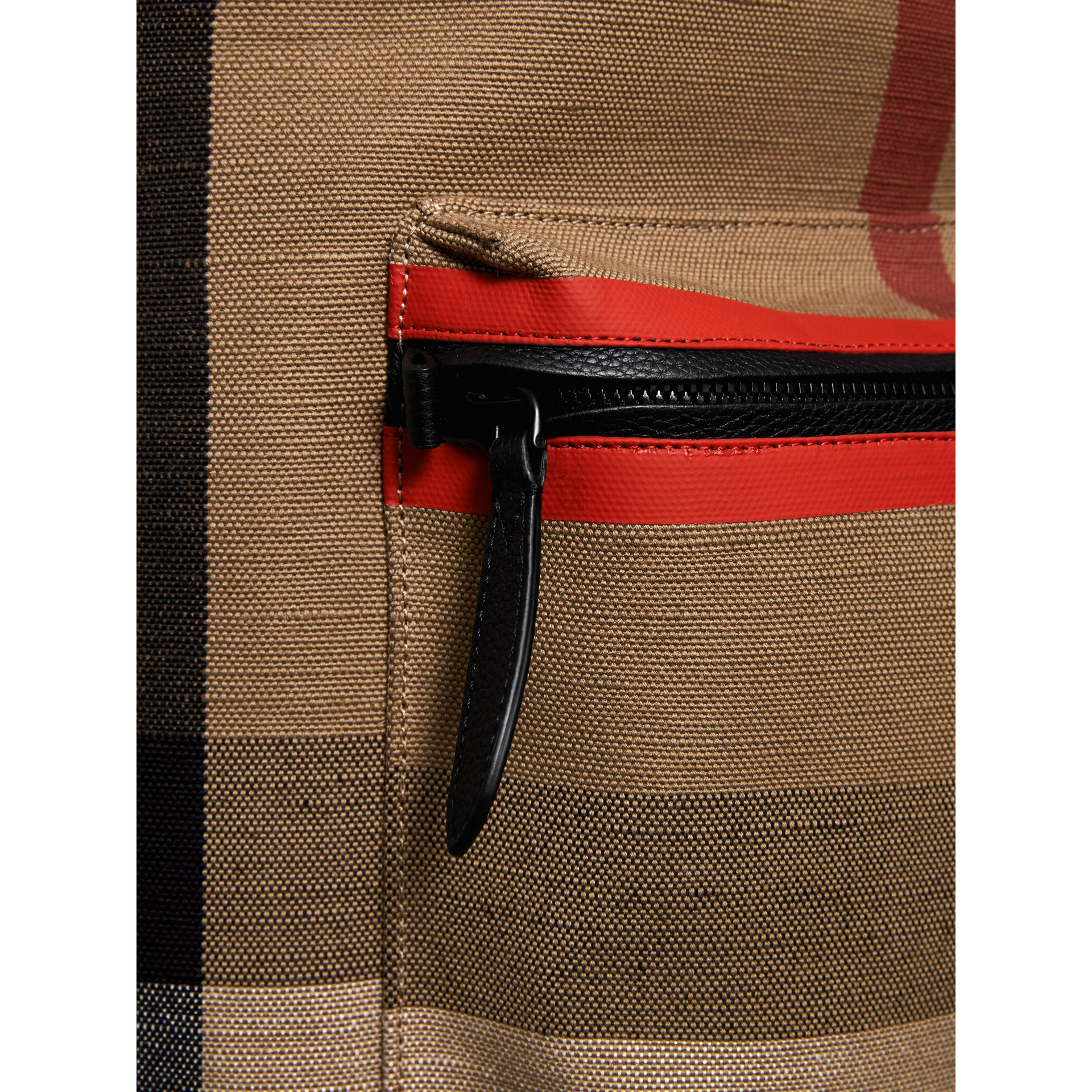 Zip-top Leather Trim Canvas Check Backpack in Military Red/camel - Men | Burberry - gallery image 1