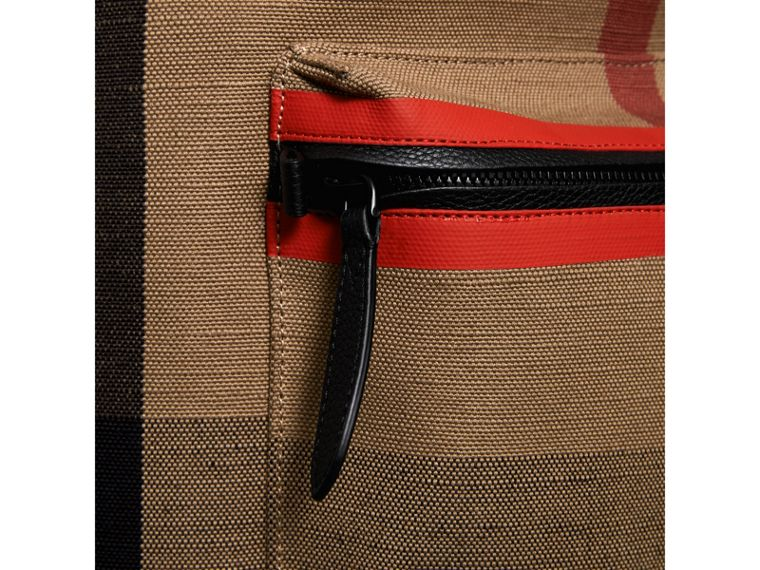 Zip-top Leather Trim Canvas Check Backpack in Military Red/camel - Men | Burberry - cell image 1
