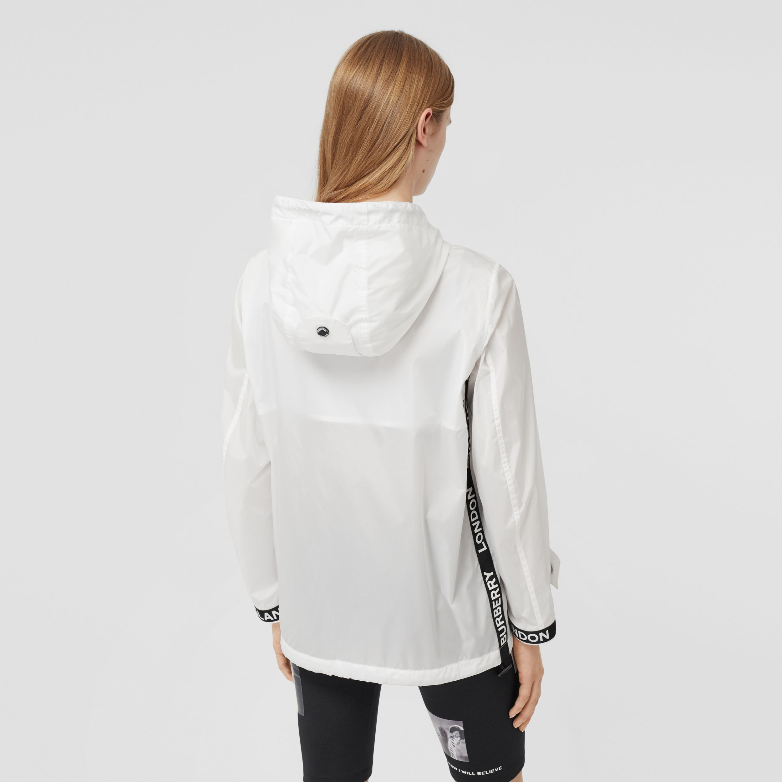 Logo Tape ECONYL® Hooded Jacket in Optic White - Women | Burberry Australia - 3