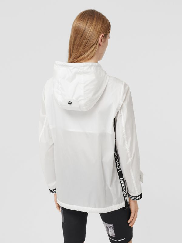 Logo Tape ECONYL® Hooded Jacket in Optic White - Women | Burberry - cell image 2