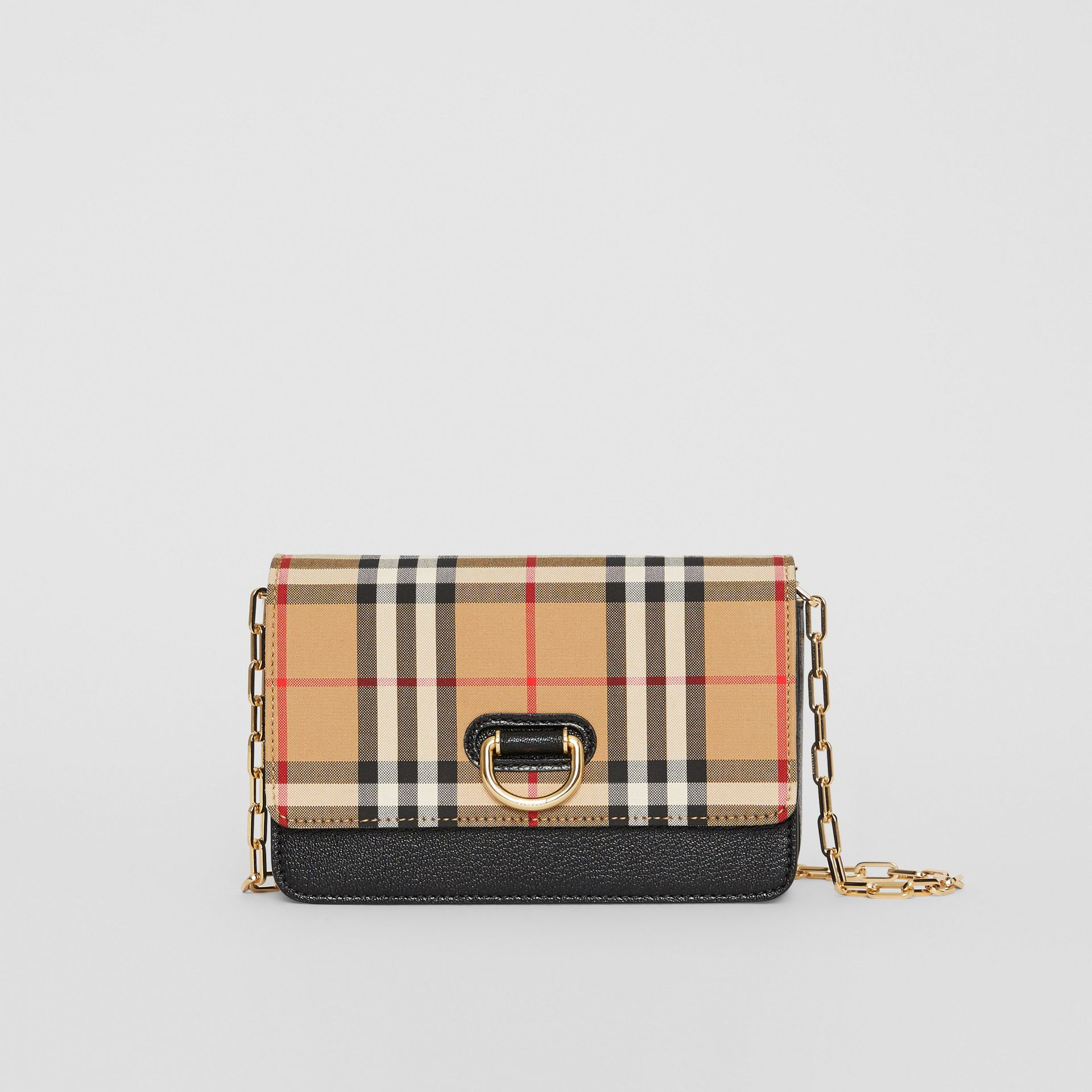 The Mini Vintage Check and Leather D-ring Bag in Black - Women | Burberry United States - gallery image 0