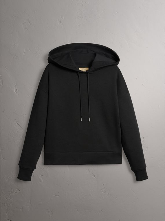 Embroidered Hood Fleece-back Jersey Sweatshirt in Black - Women | Burberry - cell image 2
