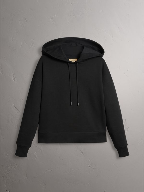 Embroidered Hood Fleece-back Jersey Sweatshirt in Black - Women | Burberry United Kingdom - cell image 2