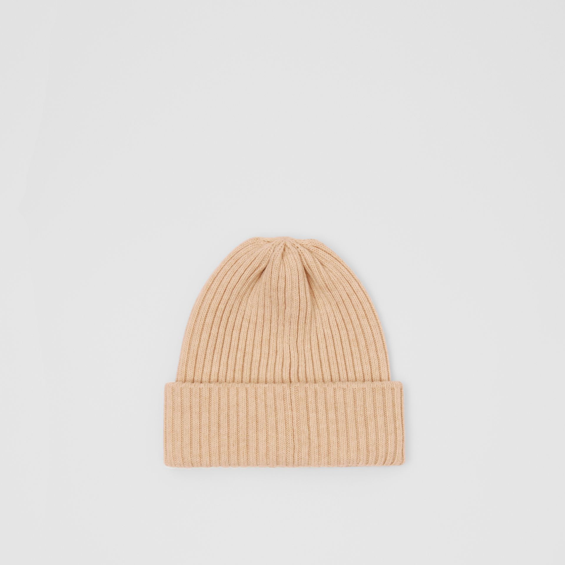 Rib Knit Wool Beanie in Beige | Burberry - gallery image 2