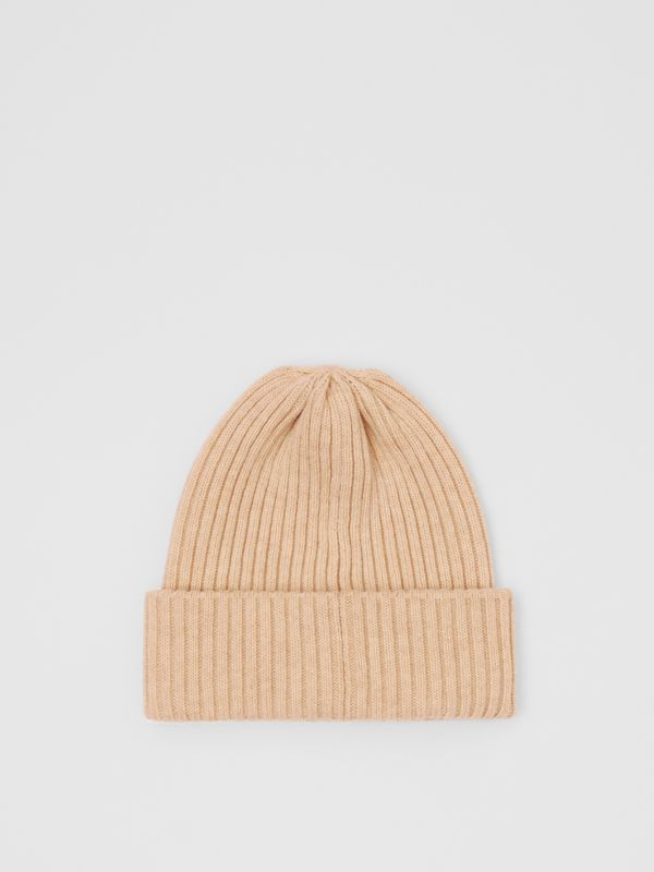 Rib Knit Wool Beanie in Beige | Burberry - cell image 2