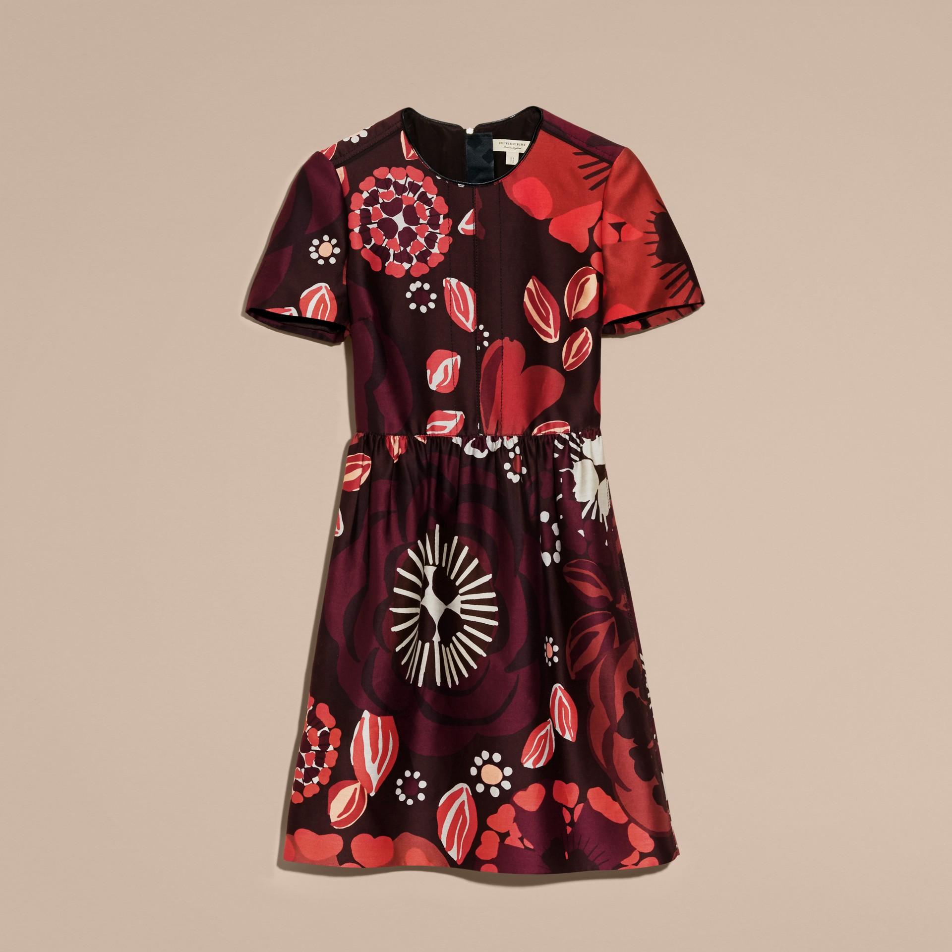 Bourgogne intense Robe trapèze en coton et laine mélangés à imprimé floral - photo de la galerie 4