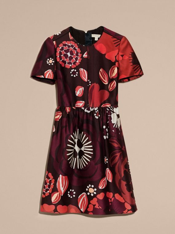 Deep burgundy Floral Print Cotton Wool Blend A-line Dress - cell image 3