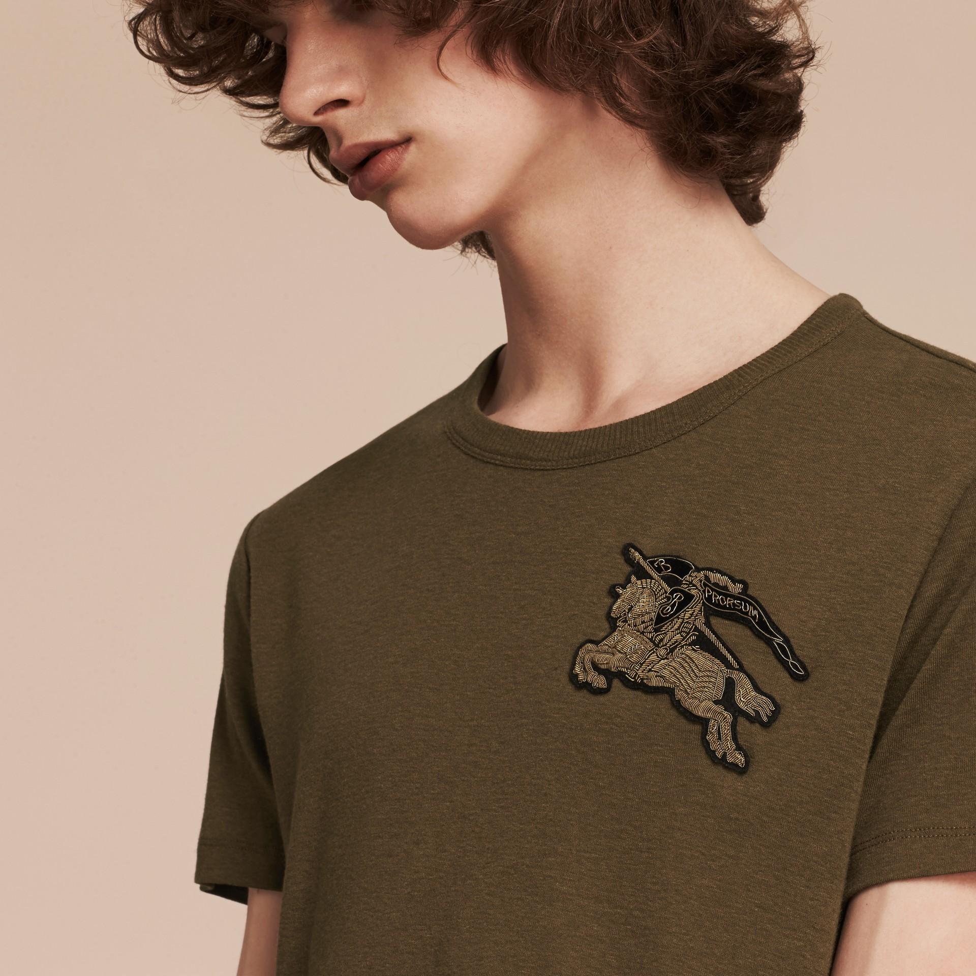 Vert militaire T-shirt en coton et laine mélangés Vert Militaire - photo de la galerie 2