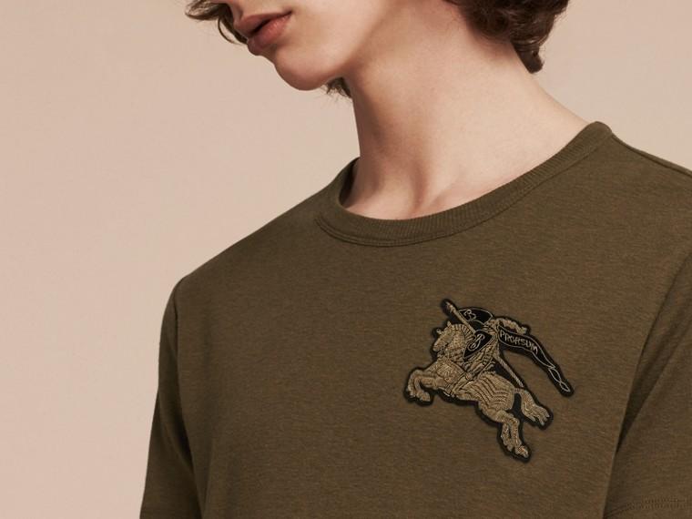Vert militaire T-shirt en coton et laine mélangés Vert Militaire - cell image 1